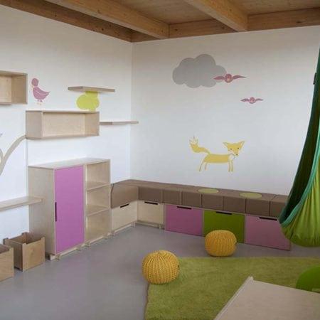 molitanová stavebnice, dětská houpačka, dětská herna, dovádění, úložné prostory, úložné boxy