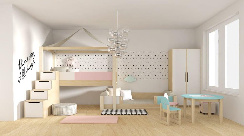 dětské postýlky, postel pro jednoho, schůdky s úložným prostorem, rostoucí stolek, rostoucí židle, nábytek z březové překližky,