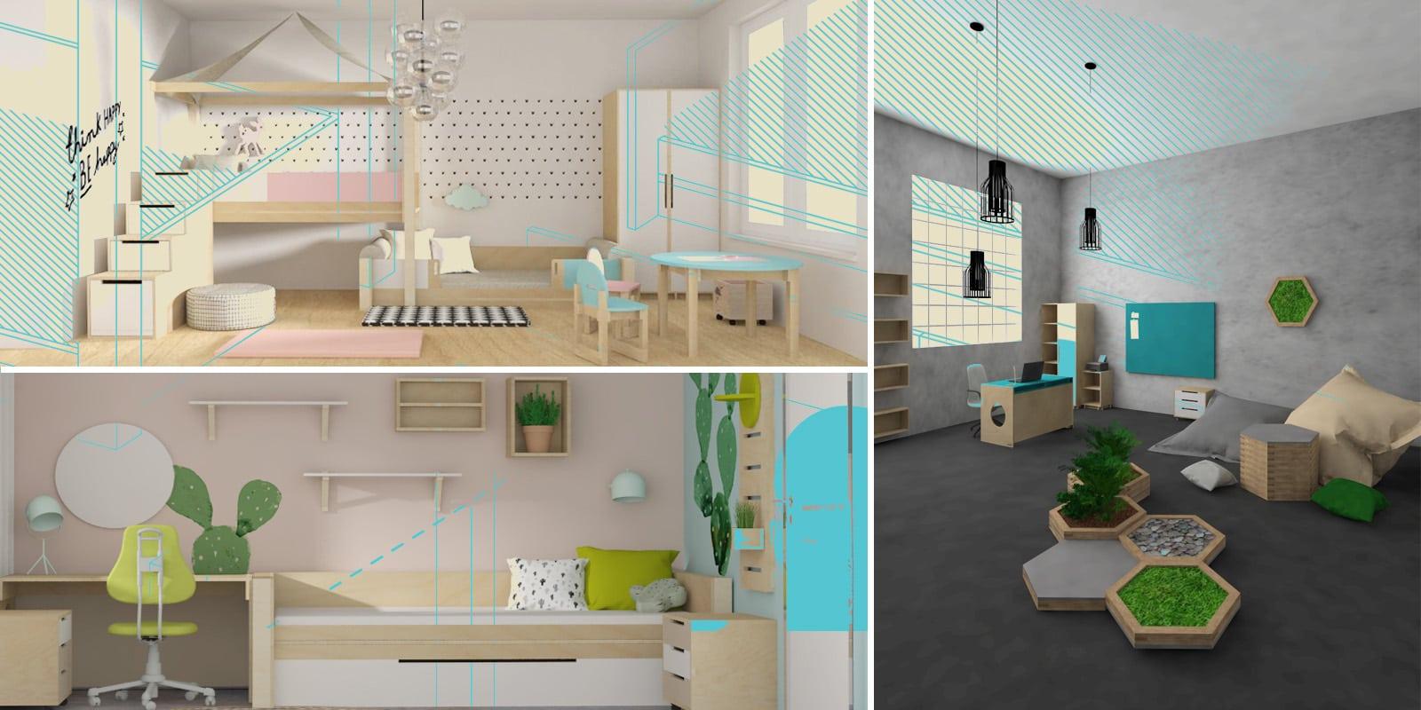 interiérový design, dřevěný nábytek, minimalistický design, dětský design, moderní interiér, návrhy dětských pokojíčků, návrhy kanceláří